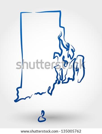 map of rhode island. map concept - stock vector
