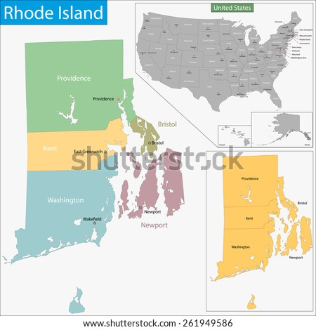 Map of Rhode Island state designed in illustration with the counties and the county seats - stock vector
