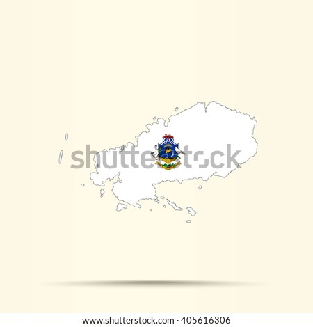 Map of Rodrigues in Rodrigues flag colors - stock vector