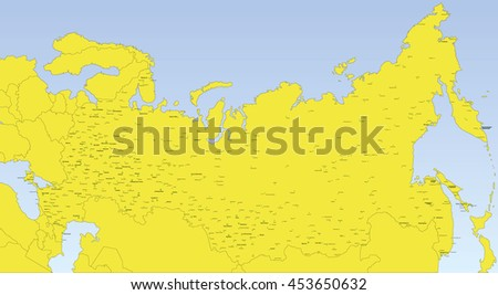 Map Russia Neighboring Countries City Names Stock Vector 453650632