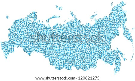 Map of Russia in a mosaic of blue circles. A number of 3731 little bubbles are accurately inserted into the mosaic. White background.