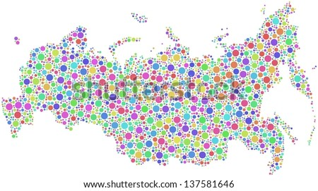 Map of Russia in a mosaic of harlequin bubbles. A number of 3189 little circles are accurately inserted into the mesh. White background. - stock vector