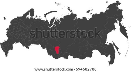 Map Russia Split Into Individual States Stock Vector 694682788
