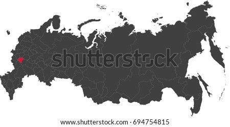 Map Russia Split Into Individual States Stock Vector 694754815