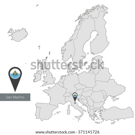 Map of San Marino with an official flag. Location in Europe - stock vector