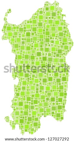 Map of Sardinia - Italy - in a mosaic of green squares. White background