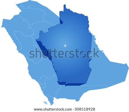 Map Saudi Arabia Region Al Riyadh Stock Vector - Riyadh map