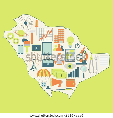 Map of Saudi Arabia with technology icons. Contour map of Saudi Arabia with icons of technology, business, science, communication - stock vector