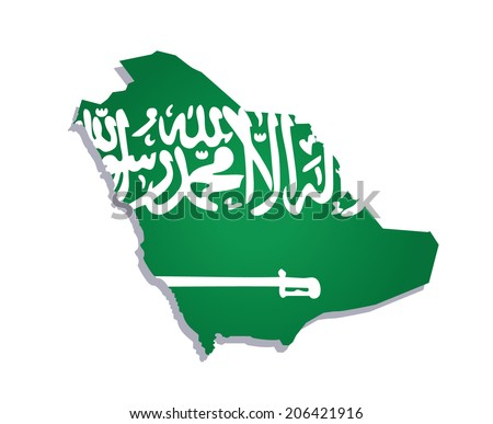 map of saudi arabia with the image of the national flag