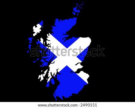 map of Scotland and scottish flag illustration - stock vector