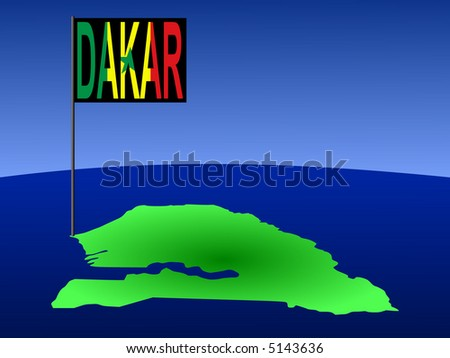 map of Senegal with position of Dakar marked by flag pole illustration
