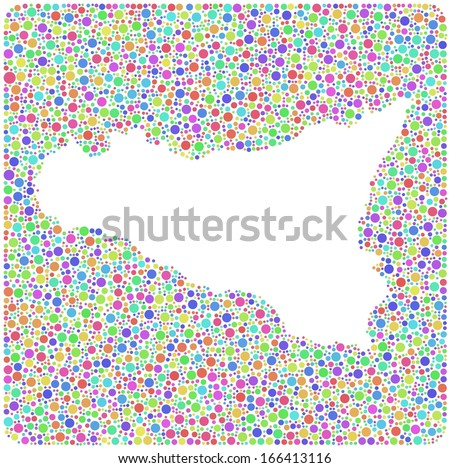 Map of Sicily - Italy - into a square colored icon. Mosaic of harlequin bubbles. A number of 4750 little bubbles are accurately inserted into the mosaic. - stock vector