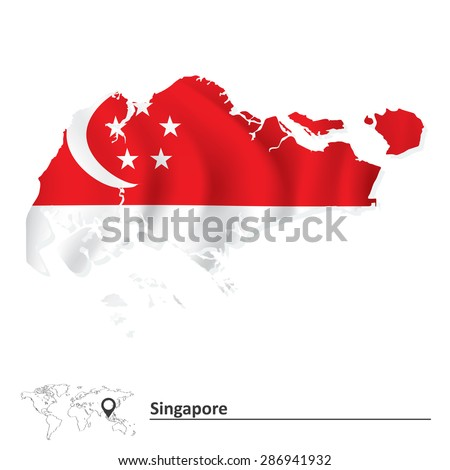 Map of Singapore with flag - vector illustration - stock vector