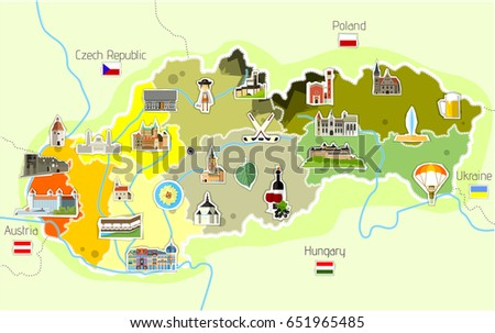 Map Slovakia Landmarks Stock Vector HD Royalty Free 651965485