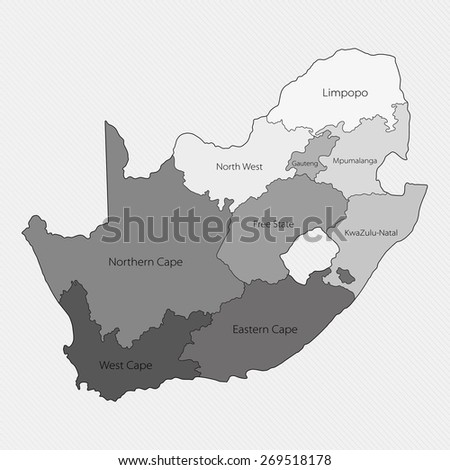 Map South Africa Administrative Division Stock Vector 269518178