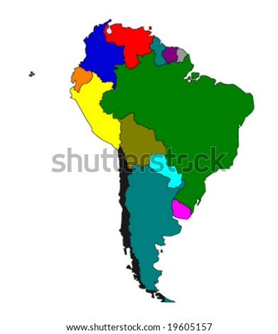 map of south america - colored vector illustration