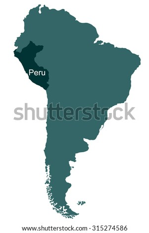Map of South America, Peru - stock vector