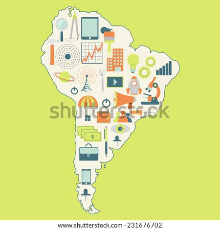 Map of South America with technology icons. Contour map of South America with icons of technology, business, science, communication - stock vector