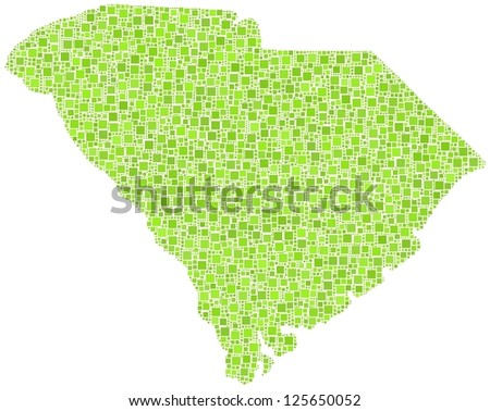 Map of South Carolina - USA - in a mosaic of green squares - stock vector