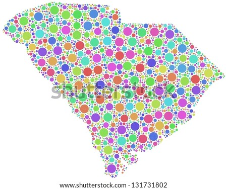 Map of South Carolina - USA - in a mosaic of harlequin bubbles