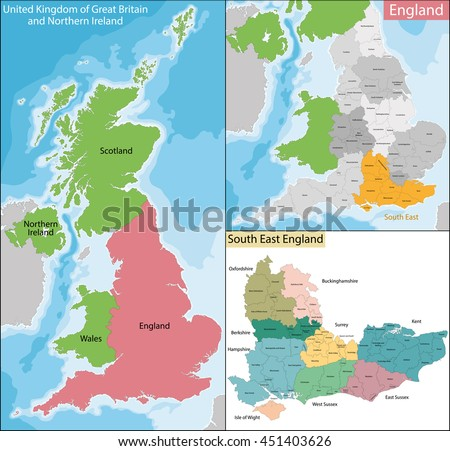 Map of South East England - stock vector