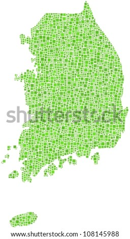 Map of South Korea - Asia - in a mosaic of green squares. A number of 3532 little squares are accurately inserted into the mosaic. White background.