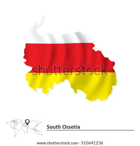 Map of South Ossetia with flag - vector illustration