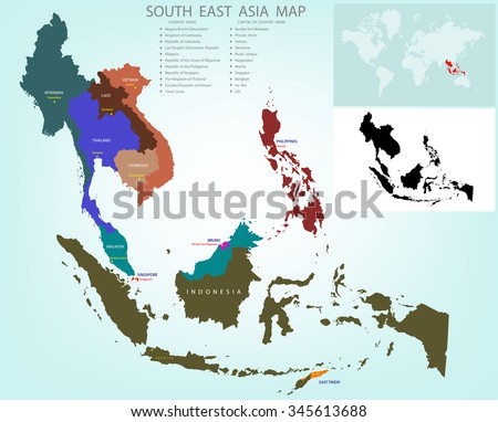 Map southeastern asia divided by countries stock vector 345613688 map of southeastern asia divided by the countries country names and capital a caption the gumiabroncs Image collections