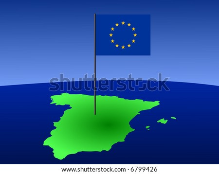 map of Spain and European Union flag on pole illustration