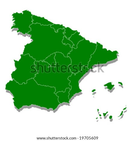 map of Spain green ecology 3d vector illustration
