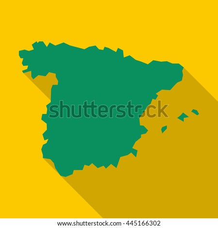Map of Spain icon in flat style with long shadow. Territory symbol - stock vector