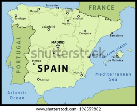 Map of Spain. Outline illustration country map with main cities in autonomous communities.