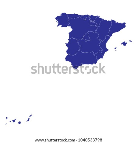 Map Spain Provinces Blue Geometric Rumpled Stock Vector 1040533798