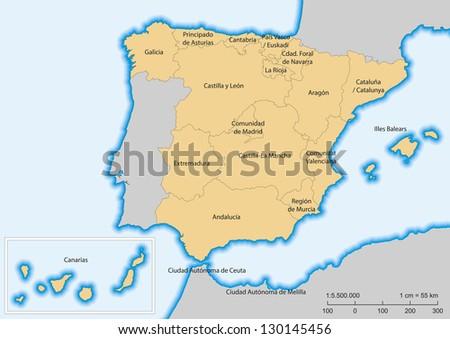 Map of Spain with islands. Autonomous communities. Escale 1:5500000. UTM projection - stock vector