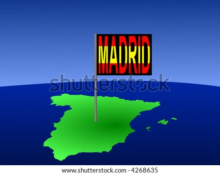 Map of Spain with Madrid Spanish flag