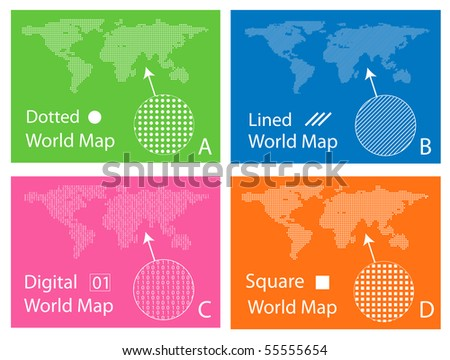 Map of squares, circles, digital and lines - stock vector