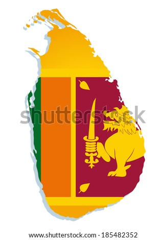 map of Sri-Lanka with the image of the national flag - stock vector