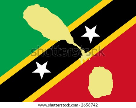 map of St Kitts-Nevis and flag illustration