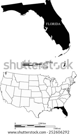 Map of state of Florida along with USA map and scale - stock vector