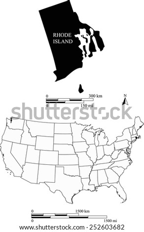 Map of state of Rhode Island along with USA map and scale - stock vector