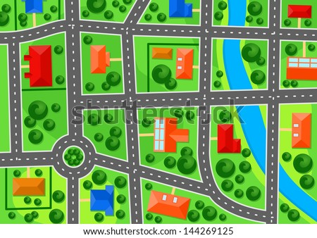 Map of suburb town for real estate concept design. Jpeg version also available in gallery