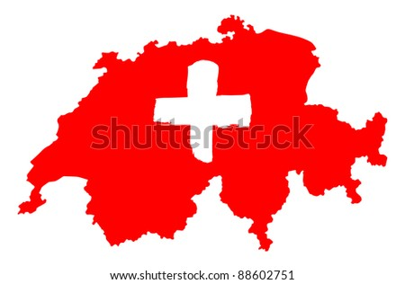 map of Swiss with flag