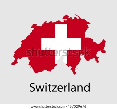 Map of Switzerland with flag. Vector illustration.