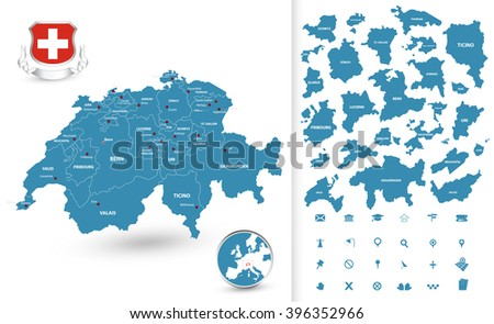 Map of Switzerland with regions. All elements are separated in editable layers clearly labeled. - stock vector