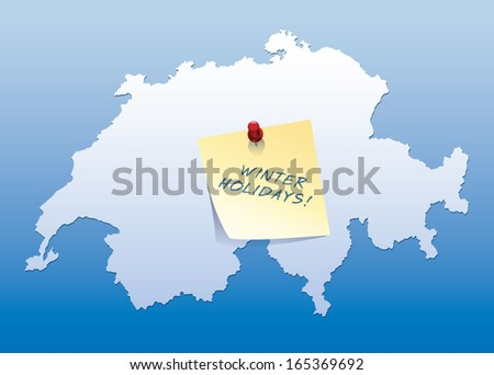 map of Switzerland with yellow stick note with winter holiday text - stock vector