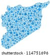 Map of Syria - middle east - in a mosaic of blue circles - stock vector