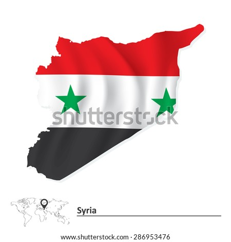 Map of Syria with flag - vector illustration - stock vector