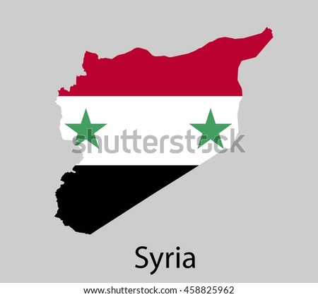 Map of Syria with flag. Vector illustration. - stock vector