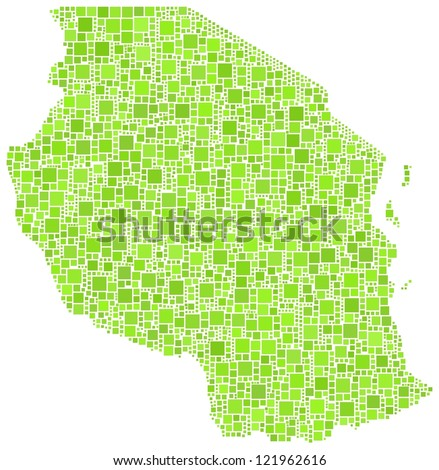 Map of Tanzania - Africa - in a mosaic of green squares