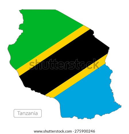 Map of Tanzania with an official flag. Illustration on white background - stock vector